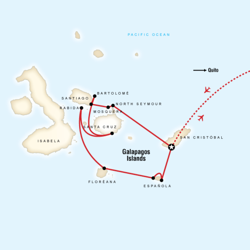Map for Galápagos — South & Central Islands