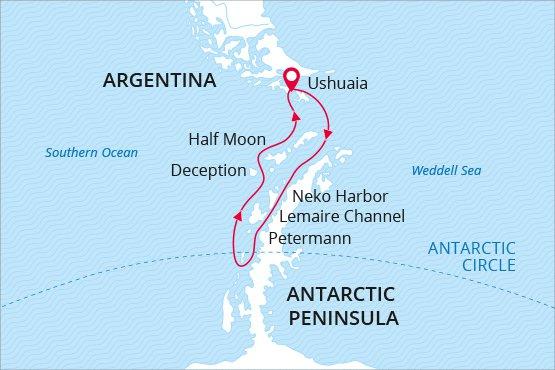 Map for Wildest Antarctica