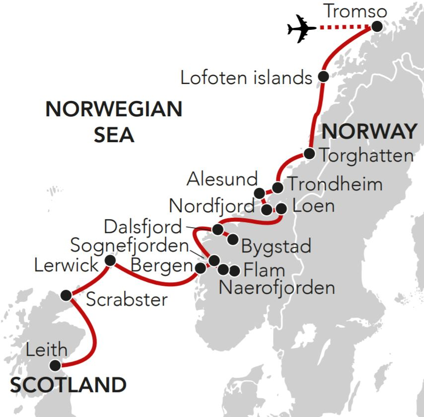 Map for Late Summer in the Cities, Islands & Fjords of Norway