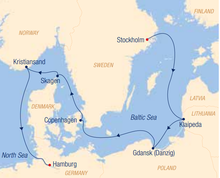 Map for A Summer Excursion to Baltic Cities