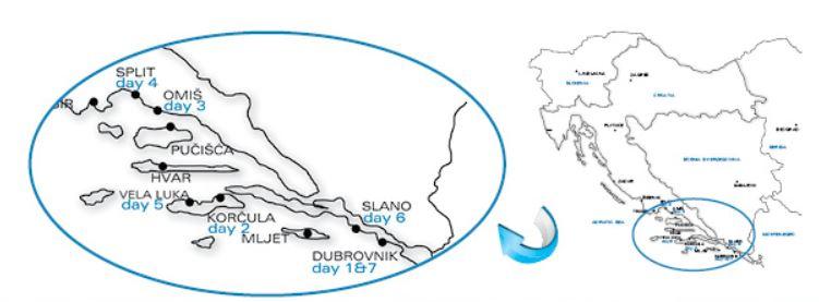 Map for Dalmatian Highlights Cruise (Providenca)