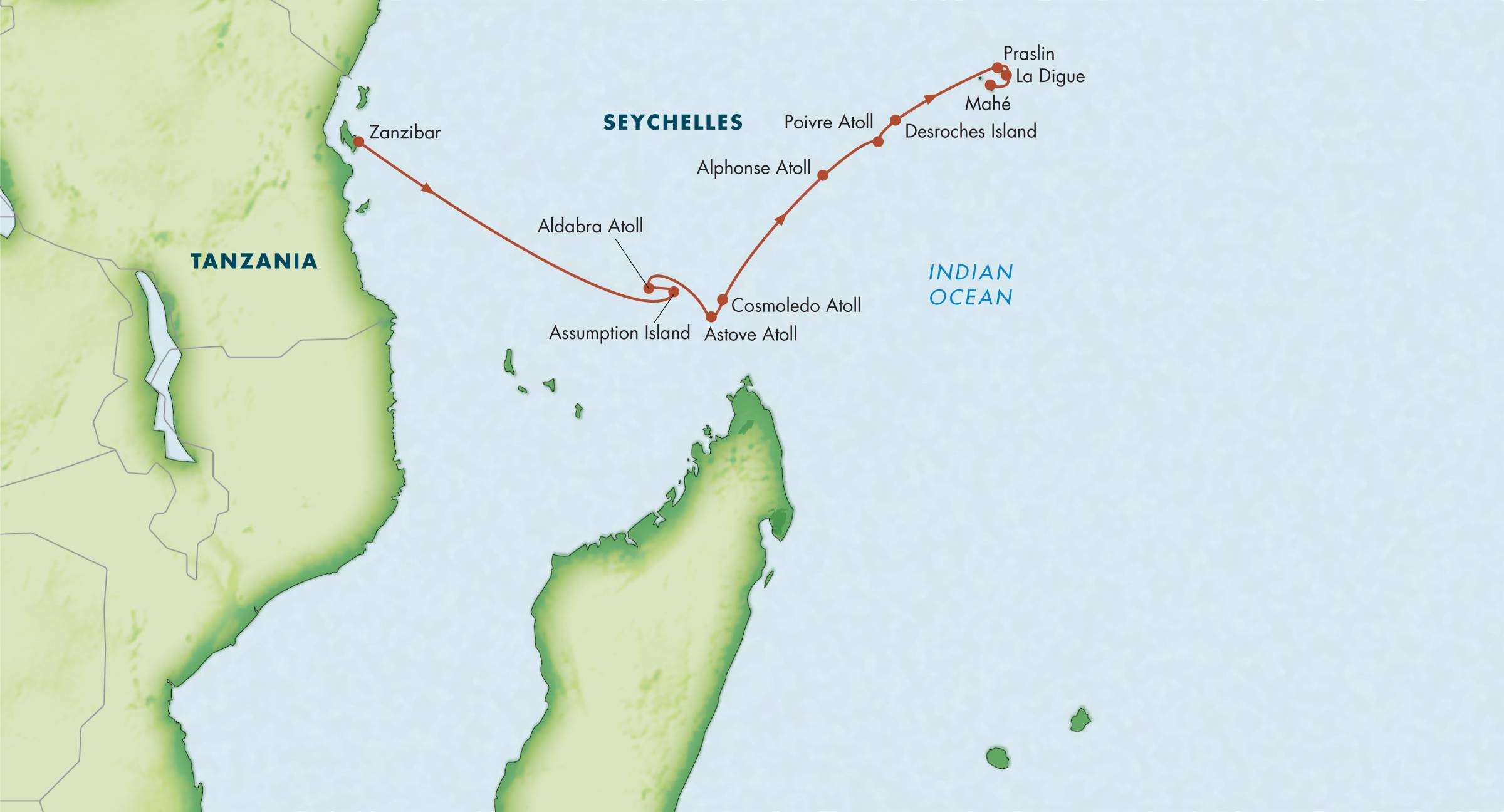 Map for Ultimate Seychelles with Aldabra Atoll