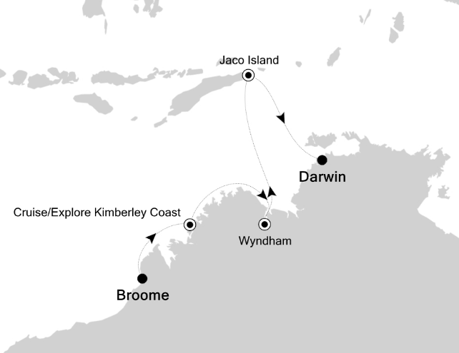 Map for The Kimberley, Australia's Hidden Treasure