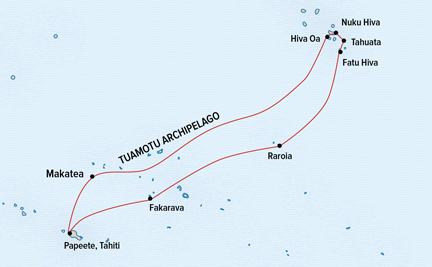 Map for Azure Seas from Tahiti to the Marquesas