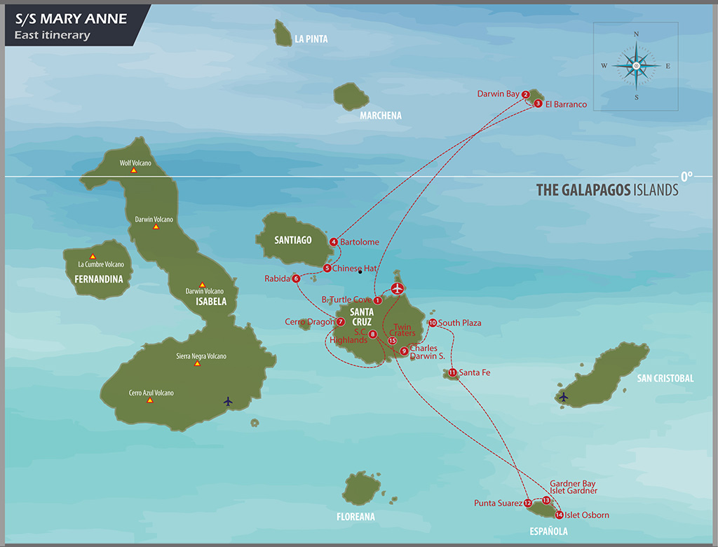 Map for Sailing Eastern Islands of Galapagos