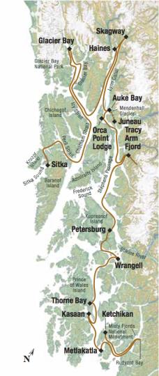 Map for Alaska's Southeast Explorer (Alaskan Dream)