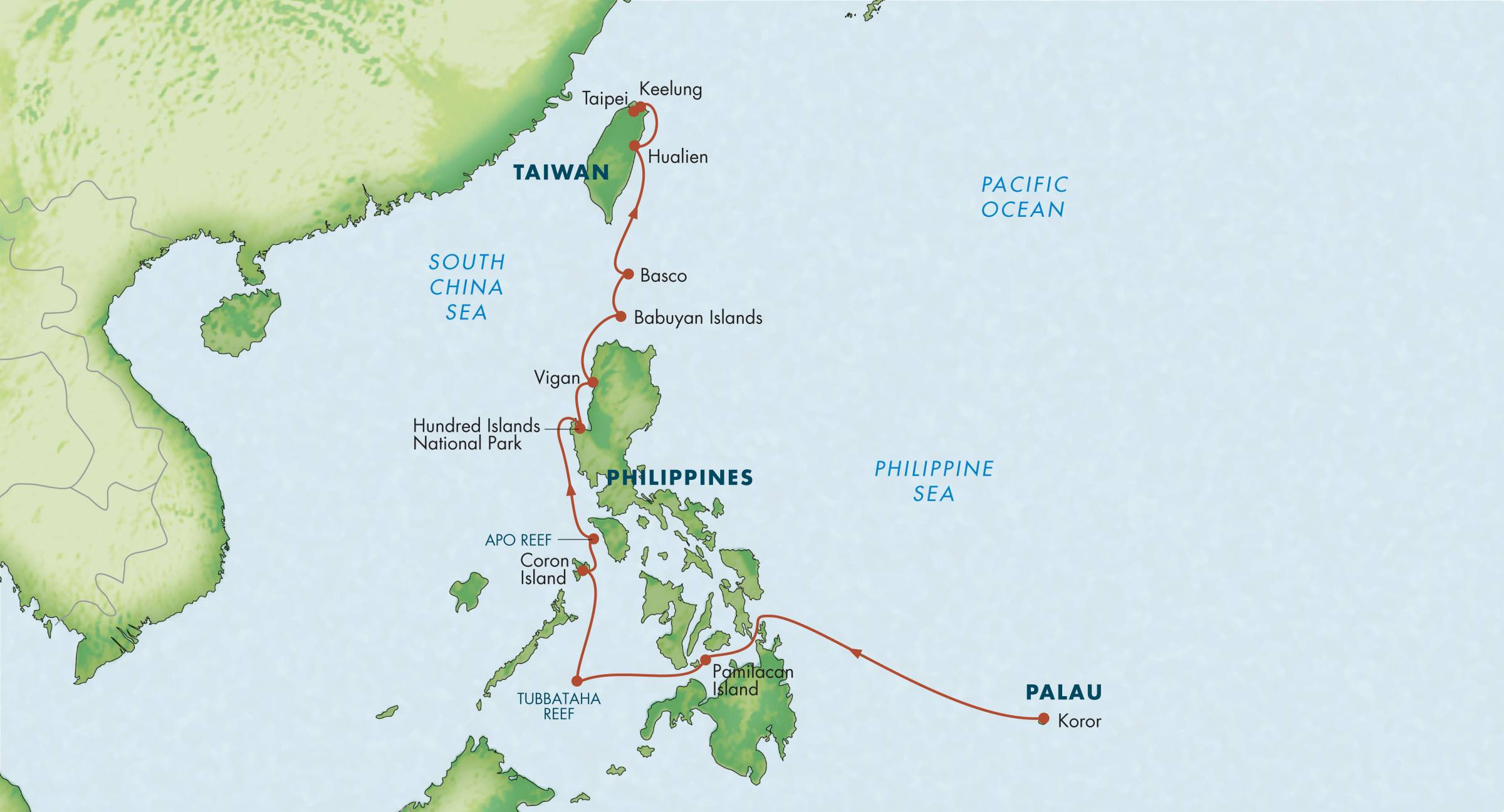 Map for Philippines with Palau & Taiwan