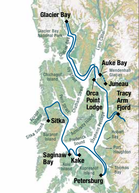 Map for Alaska's Glacier Bay Adventure (Baranof Dream)