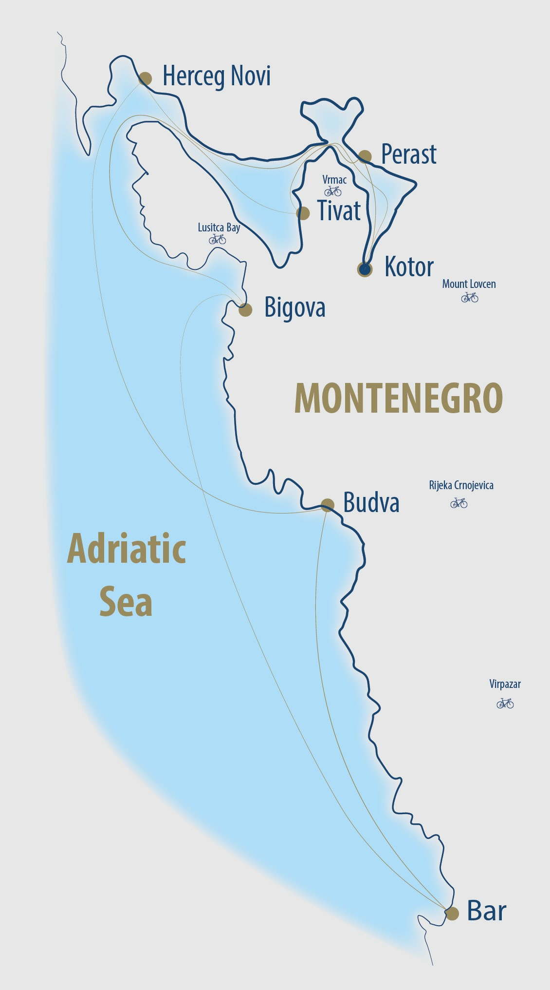 Map for Montenegro Cruise and Bike