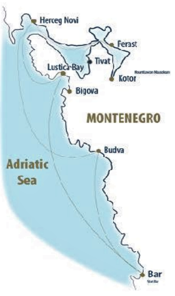 Map for Kotor Bay and Montenegro gulet cruise