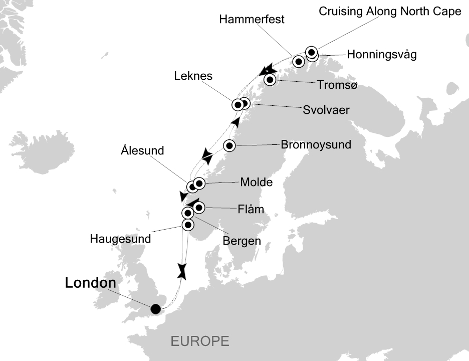 Map for From London to Norway's fjords in luxury