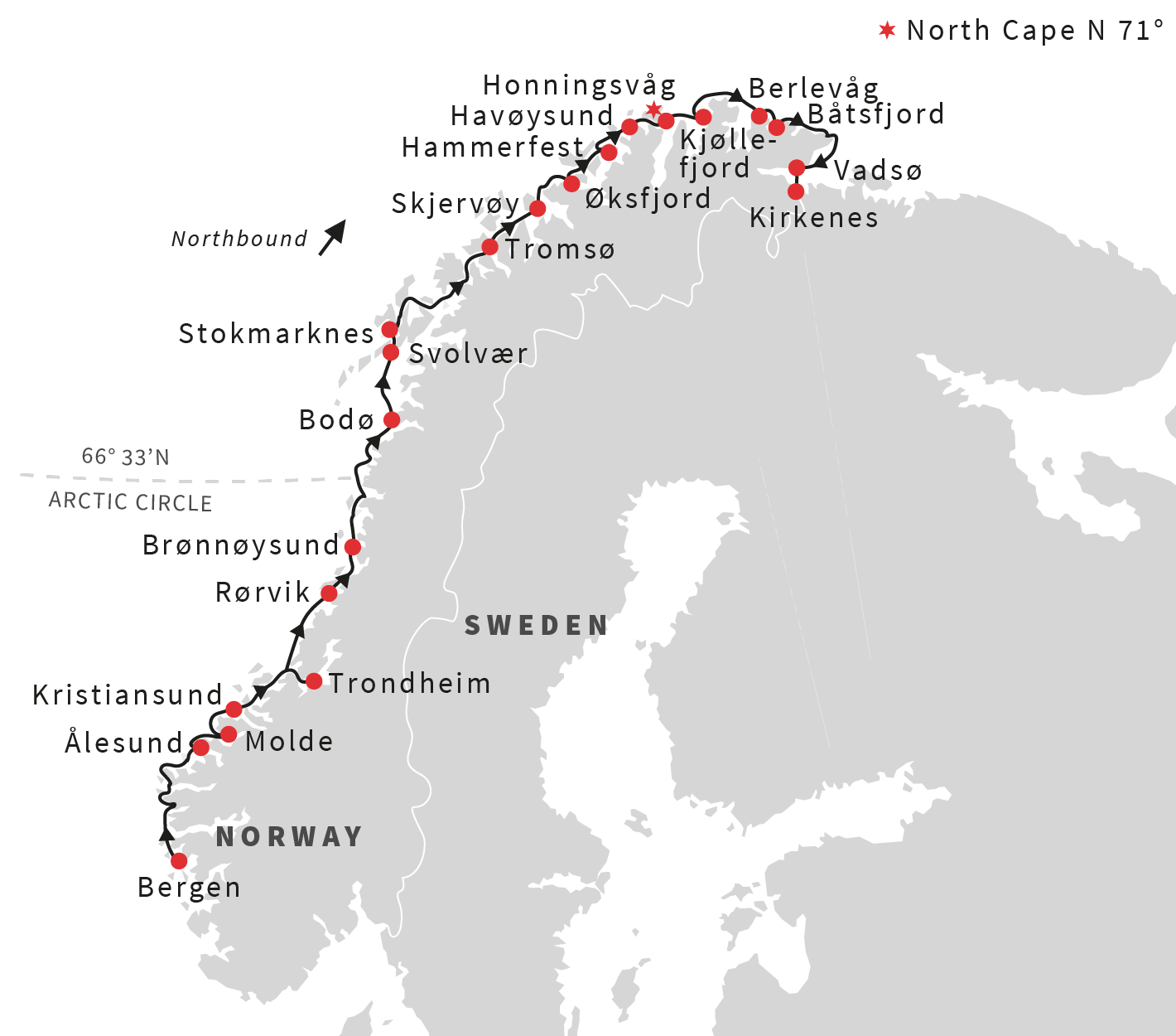 Map for Classic Norway Voyage North