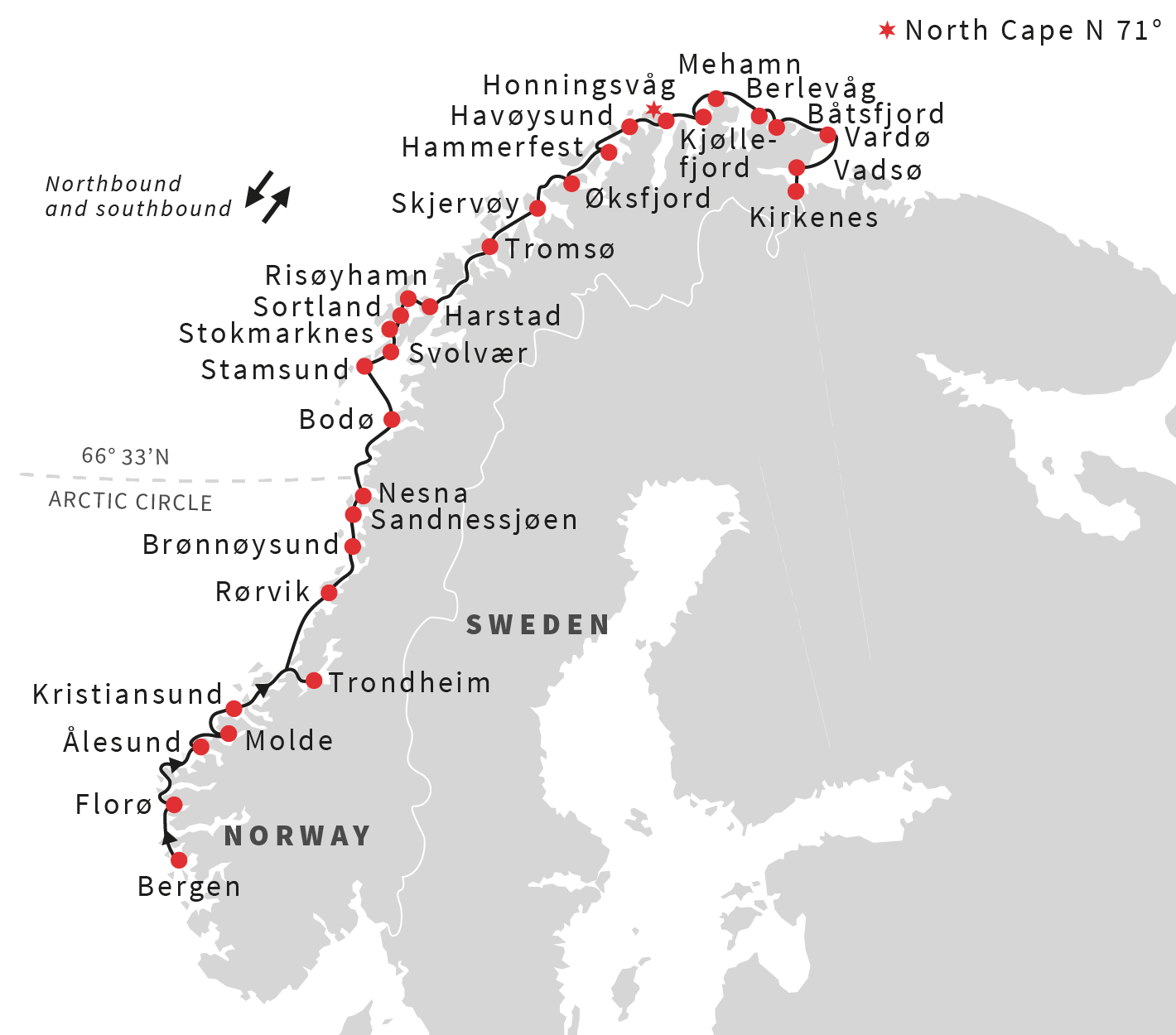Map for The Voyage of Norway Discovery