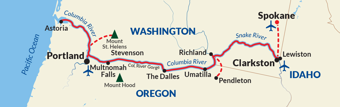 Map for Columbia and Snake Rivers Cruise (American Song)