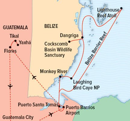 Map for Belize to Tikal: Reefs, Rivers & Ruins of The Maya World