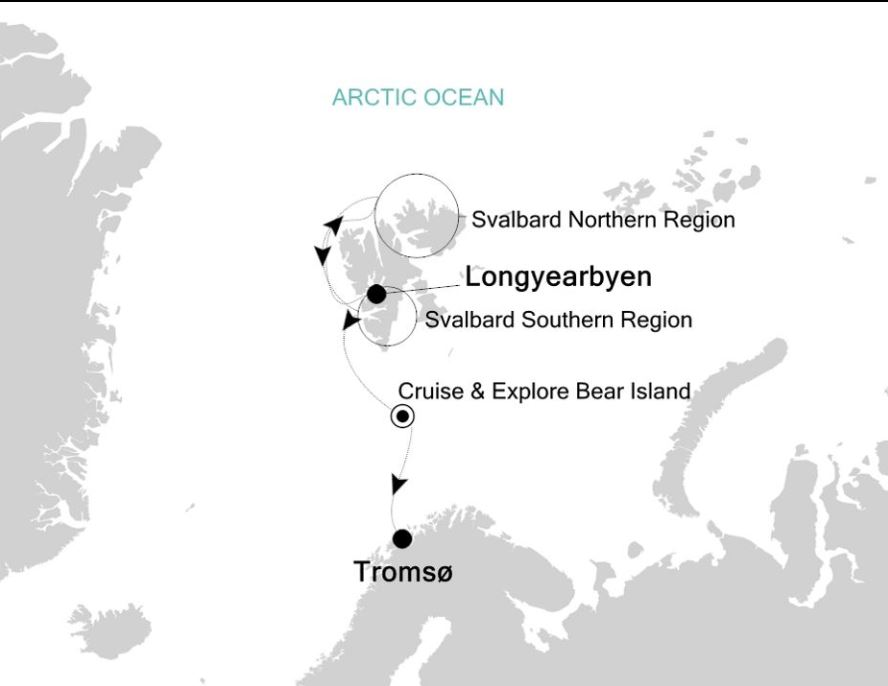 Map for Longyearbyen to Tromso: Arctic Expedition Cruise