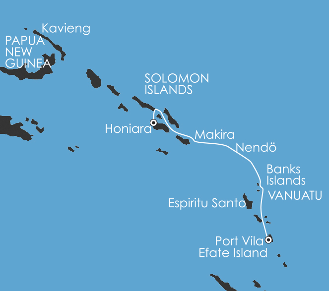 Map for South Pacific: Secrets of Melanesia 2019