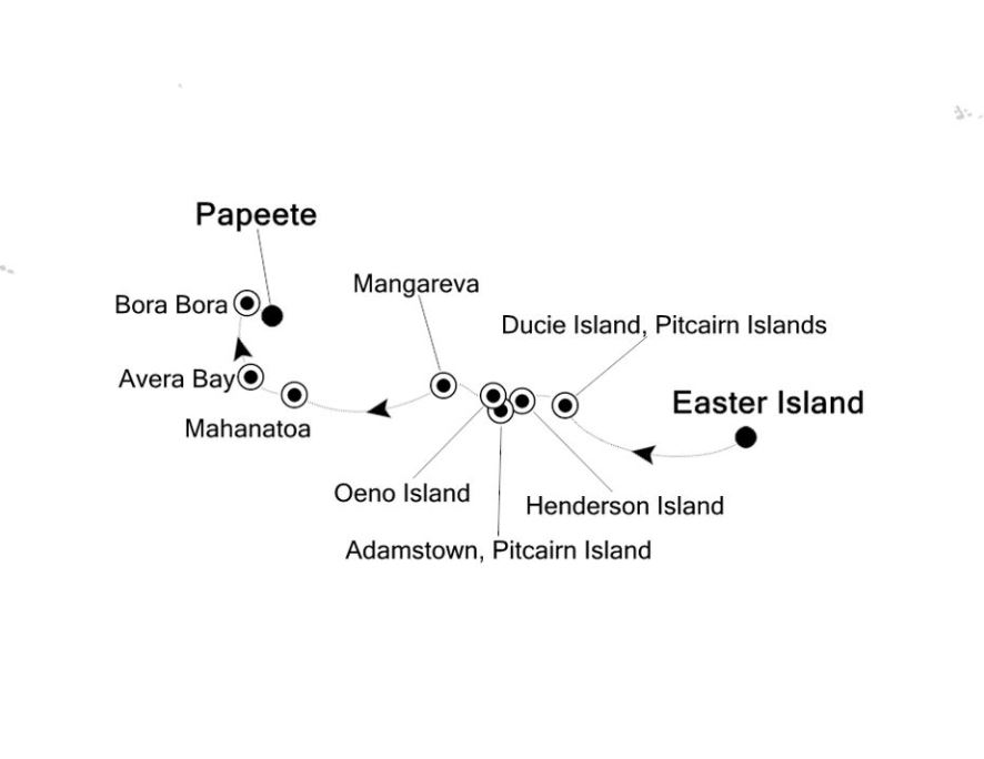 Map for Easter Island to Papeete: Pacific Islands Expedition Cruise
