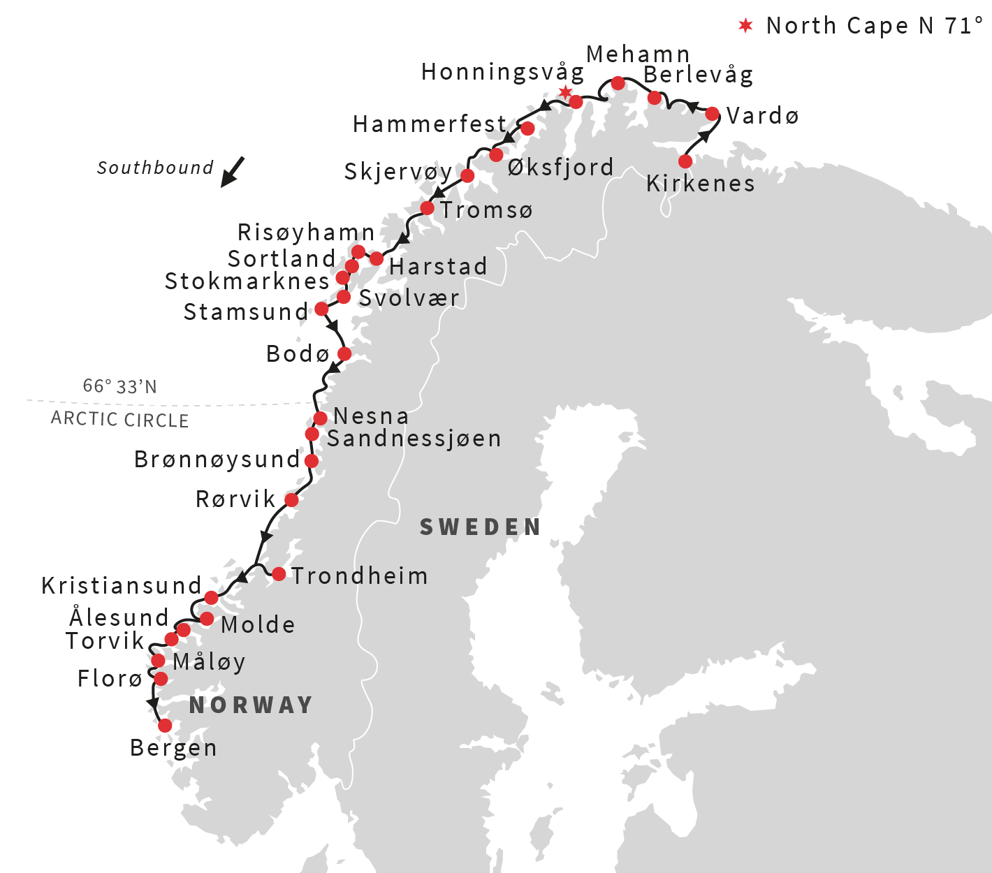 Map for Classic Norway Voyage South