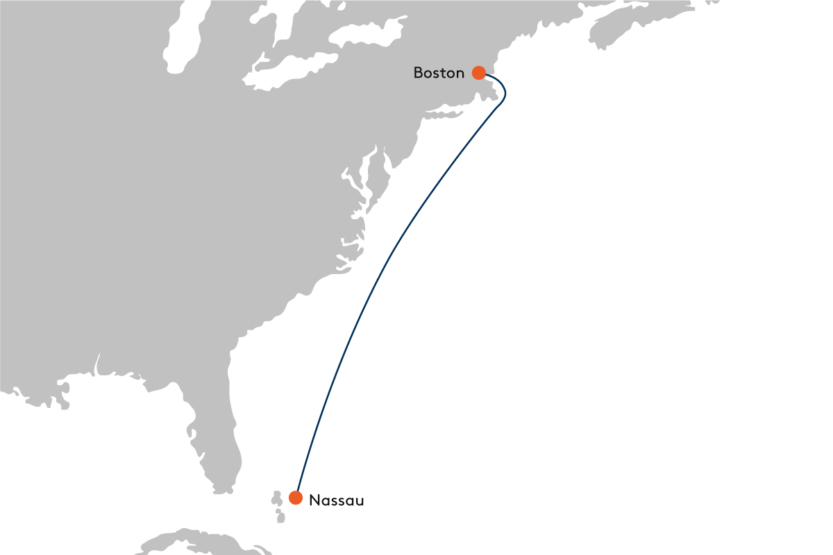 Map for From Nassau to Boston Cruise