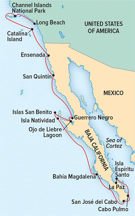 Map for From Southern California to Baja (NG Venture)
