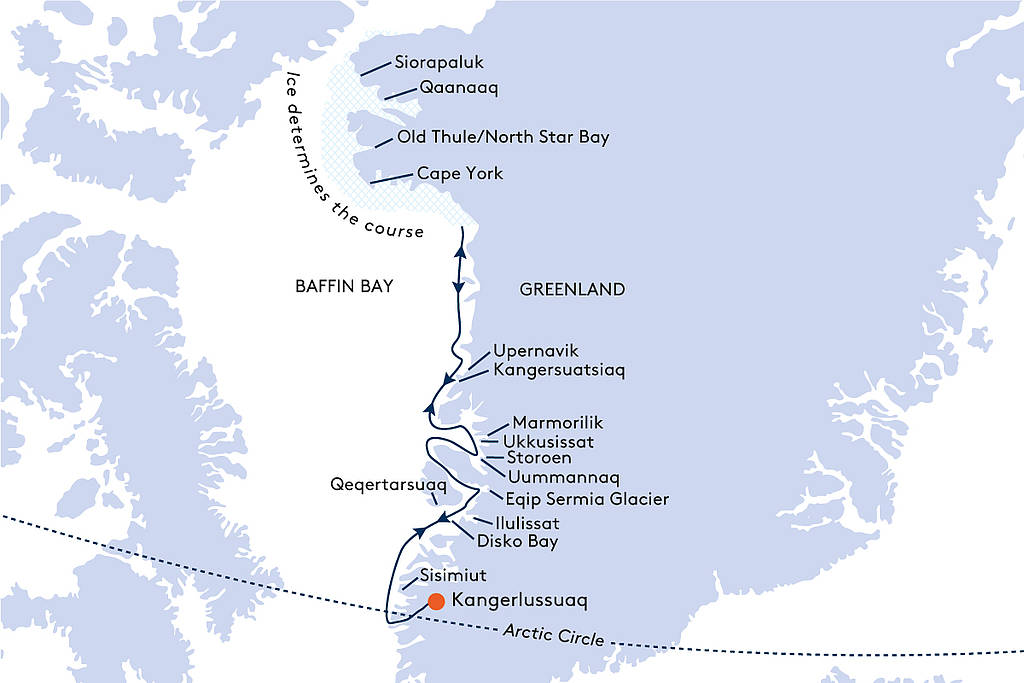 Map for From Kangerlussuaq to Kangerlussuaq Cruise - 14 Days