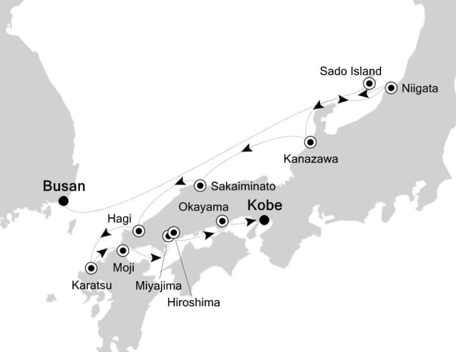 Map for Busan to Kobe: Japan Expedition Cruise