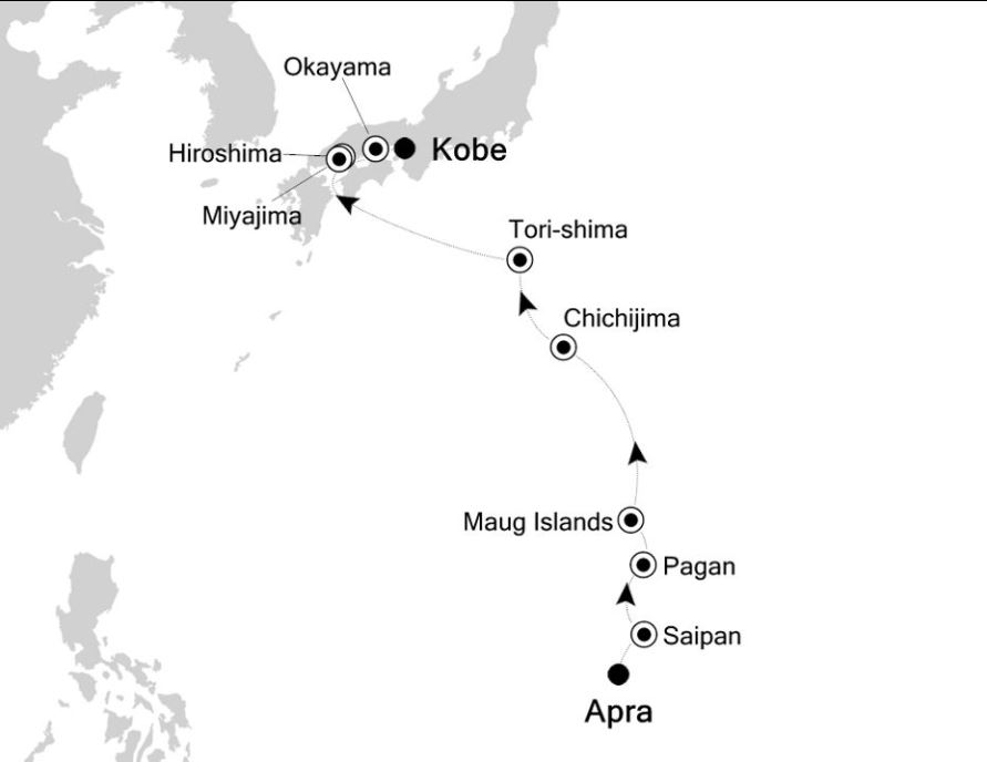 Map for Apra to Kobe: Asia Expedition Cruise