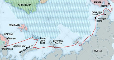 Map for Northeast Passage: An Unforgettable Voyage from Norway to Alaska