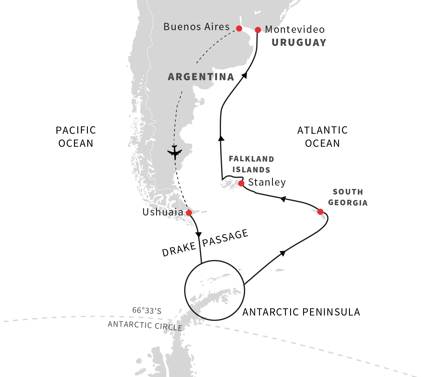 Map for Explorers, King Penguins and Wildlife Expedition