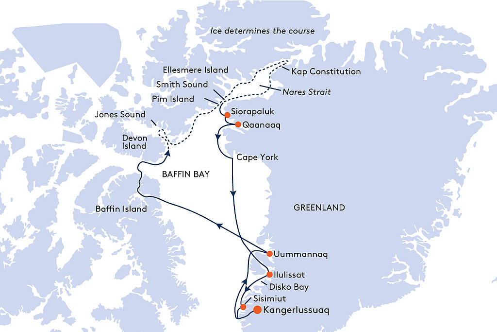 Map for From Kangerlussuaq to Kangerlussuaq Cruise - 17 Days