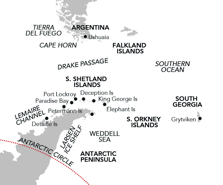 Map for In the Wake of Shackleton 2020