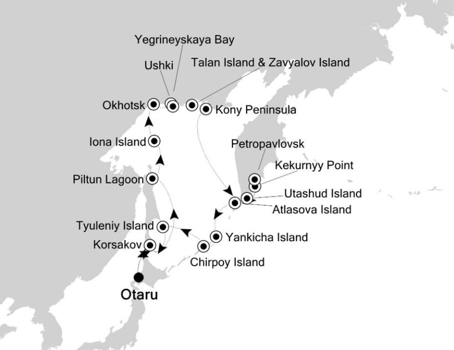 Map for Hokkaido to Hokkaido: Russian Far East Expedition Cruise