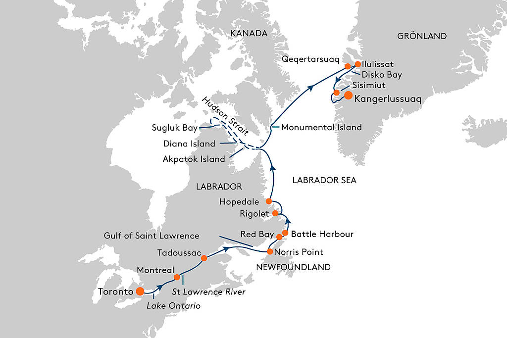 Map for From Toronto to Kangerlussuaq Cruise