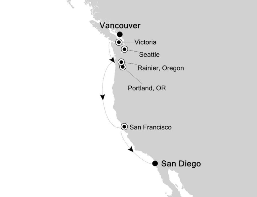Map for Vancouver to San Diego: American West Coast Expedition Cruise