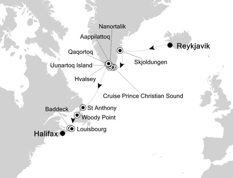 Map for Reykjavik to Halifax: Canada & Greenland Expedition Cruise