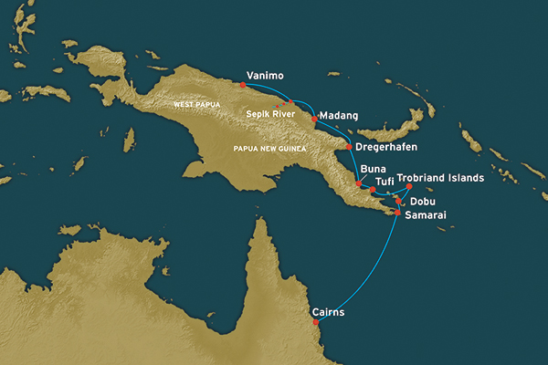 Map for Papua New Guinea: Customs & Craftsmen (Vanimo to Cairns)