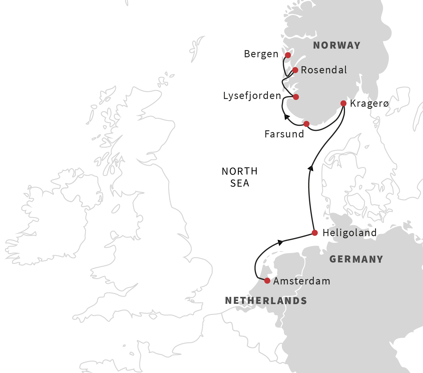 Map for Pearls of Southern Norway