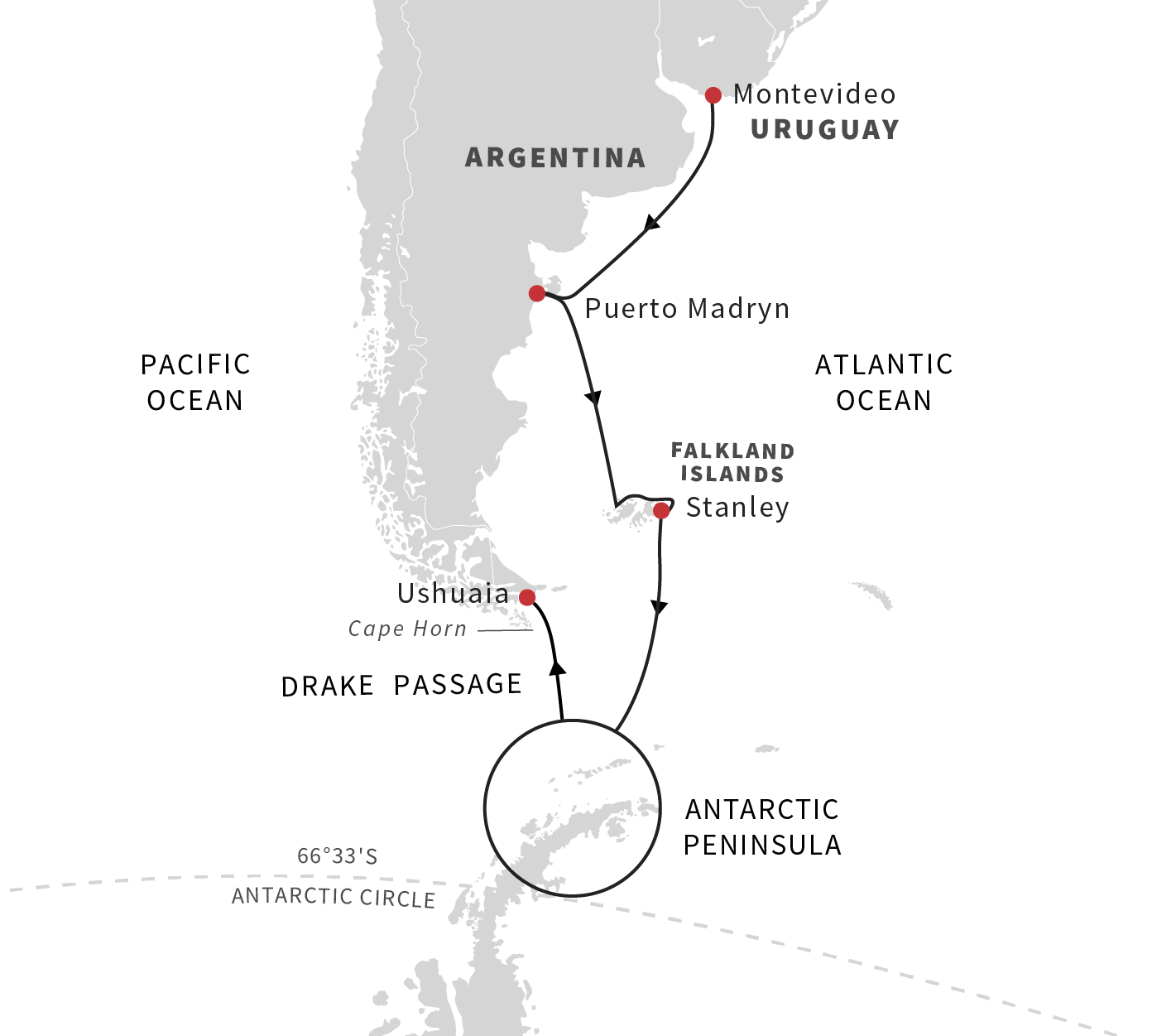 Map for Southern Hemisphere Adventure to Antarctica - Southbound