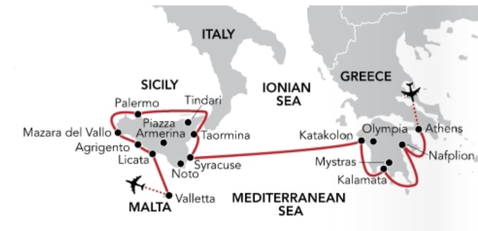Map for Passage from the Peloponnese to Sicily