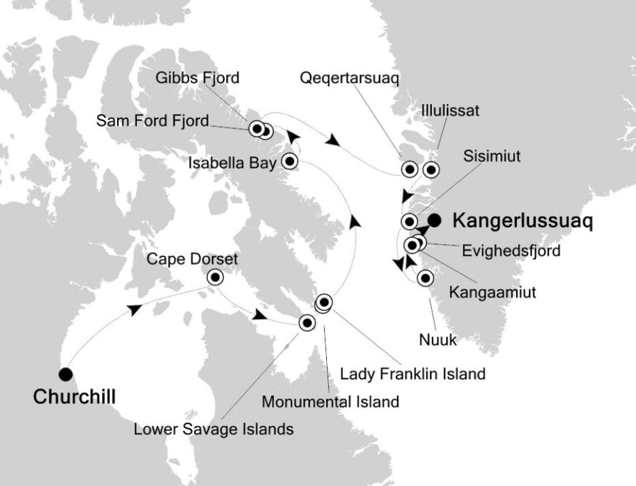 Map for Churchill to Kangerlussuaq: Arctic & Greenland Expedition Cruise