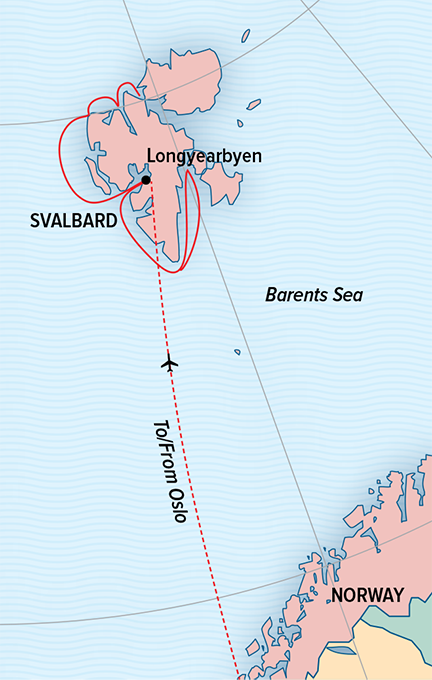 Map for Svalbard in Spring: Polar Bears, Arctic Light & Epic Ice