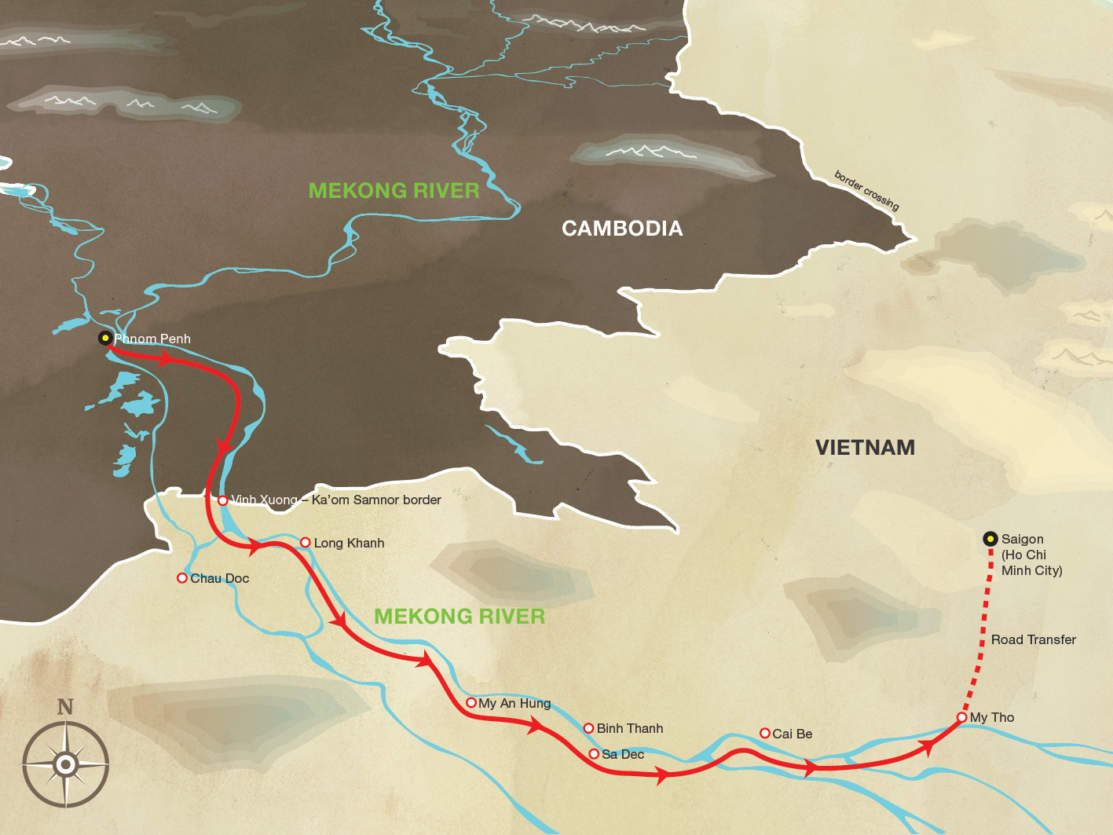 Map for Discovery Cruise - From Phnom Penh to Saigon