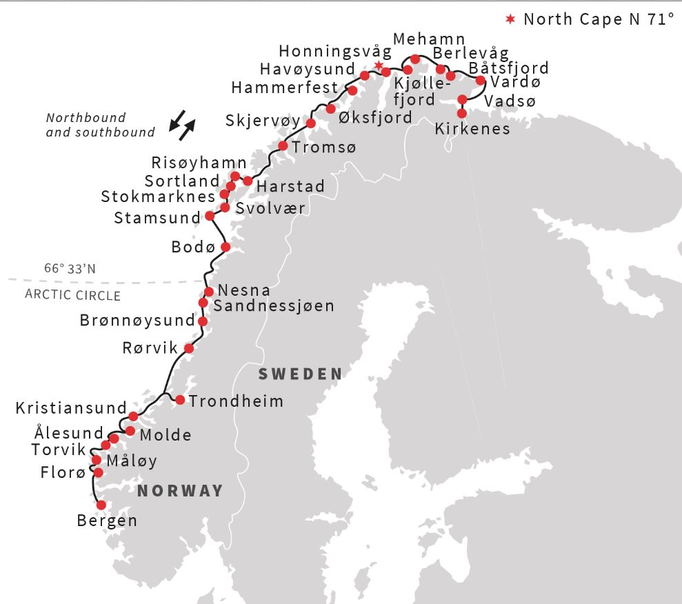 Map for The Classic Norway Roundtrip Voyage