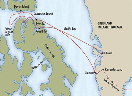 Map for Greenland and the Canadian High Arctic Adventure 2020