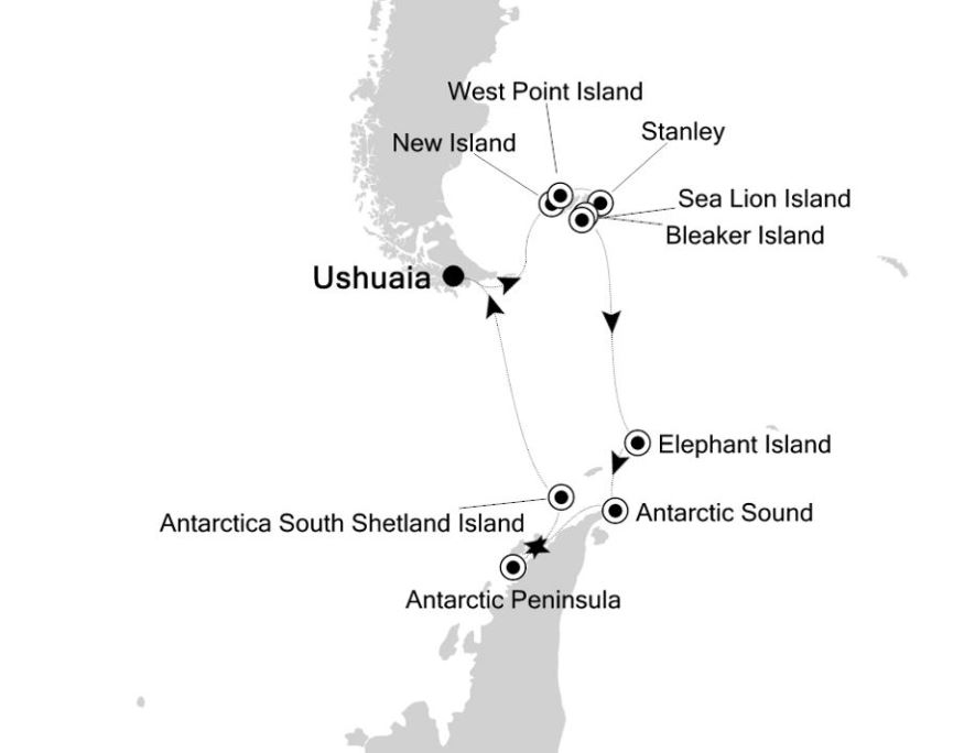 Map for 16 Days Antarctica Expedition Cruise