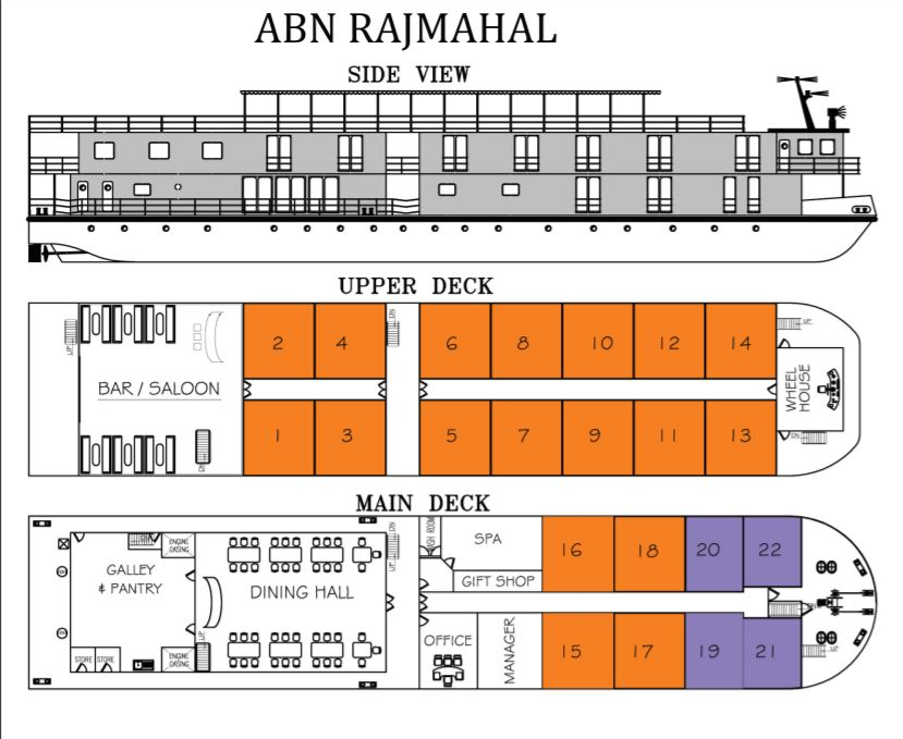 Cabin layout for ABN Rajmahal