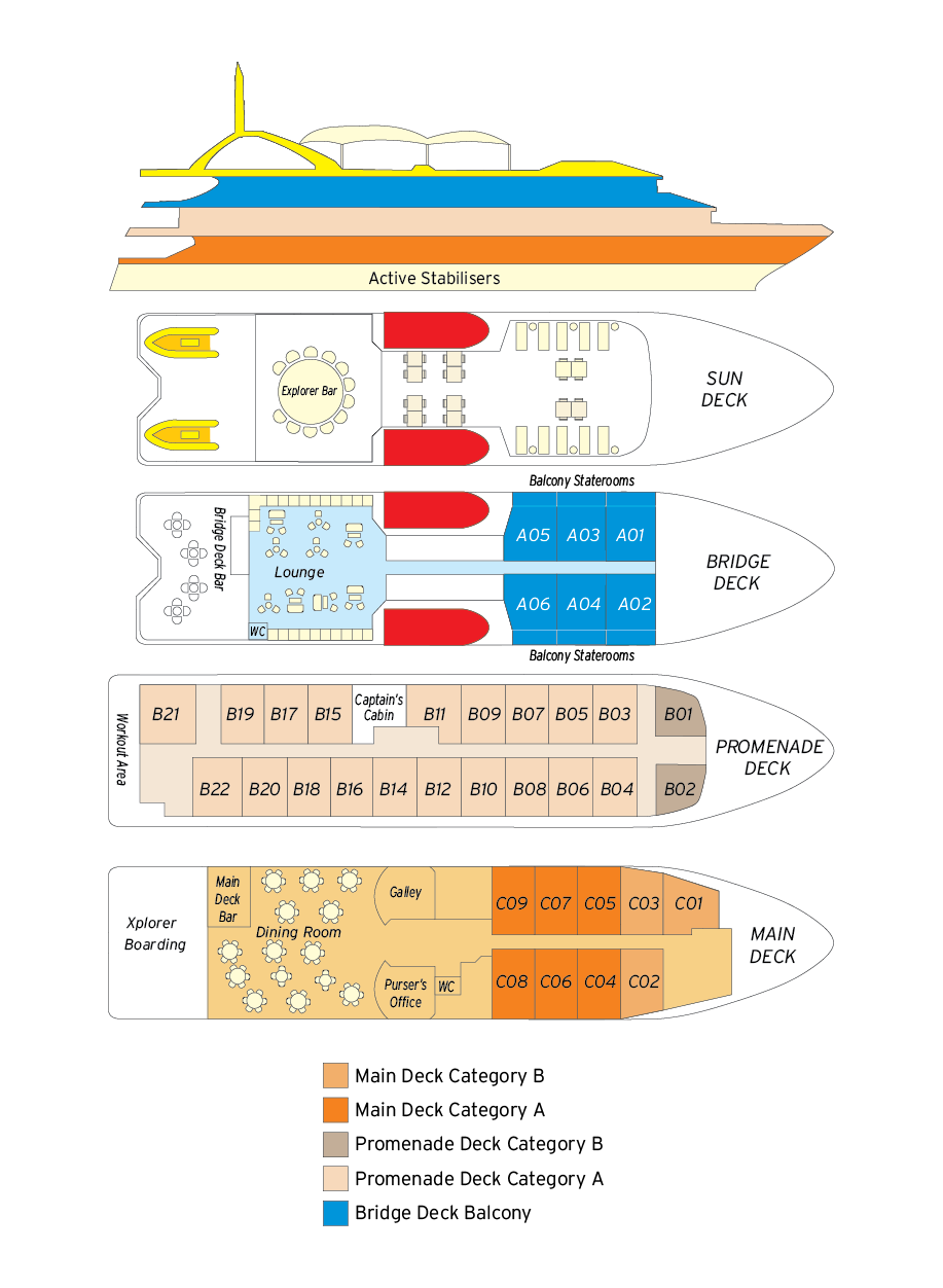 Cabin layout for Coral Discoverer
