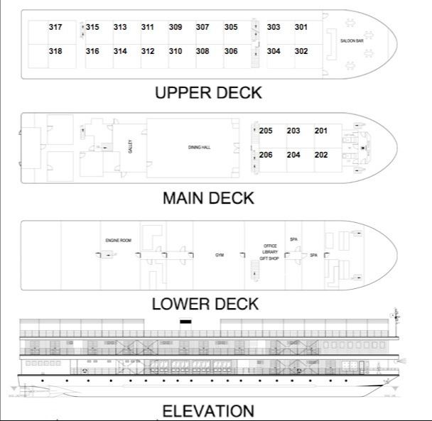 Cabin layout for Mekong Pandaw