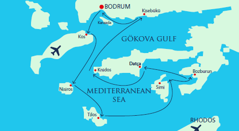 Map for Luxury Gulet cruise to the South Dodecanese Aegean Islands of Greece
